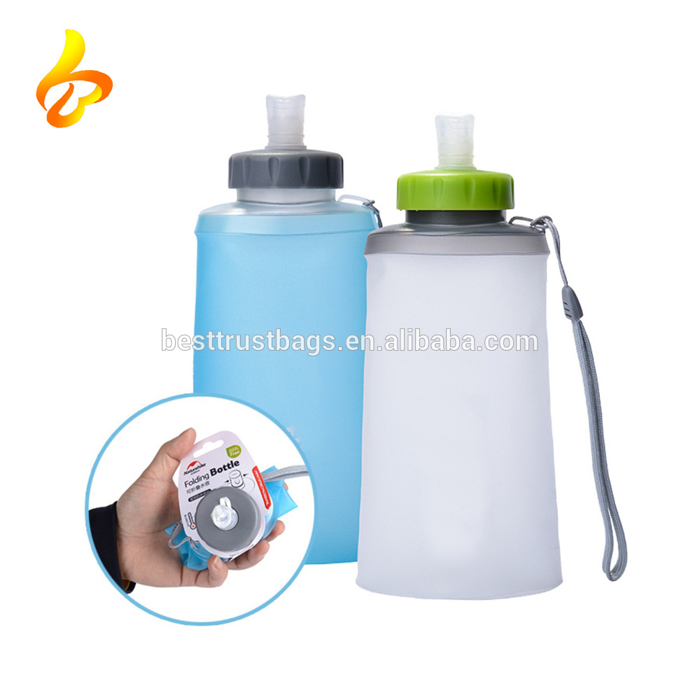 Foldable Folding Soft Flask Squeeze Outdoor Sports Running Water Bottle